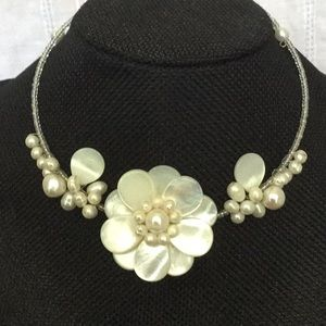 """18""""CurvedWireW/IrridescentBeads&MOP Flowers&Pearls"""